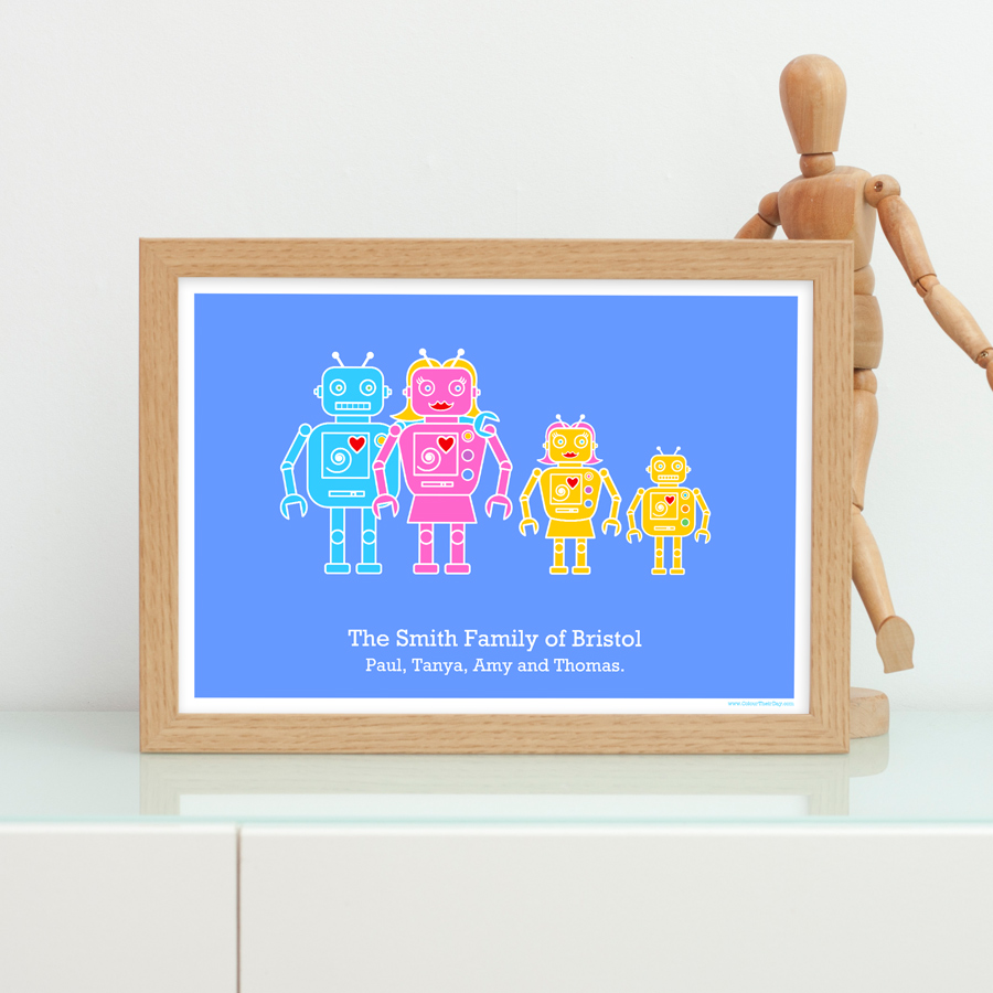 Robot Personalised Family Print | Colour Their Day