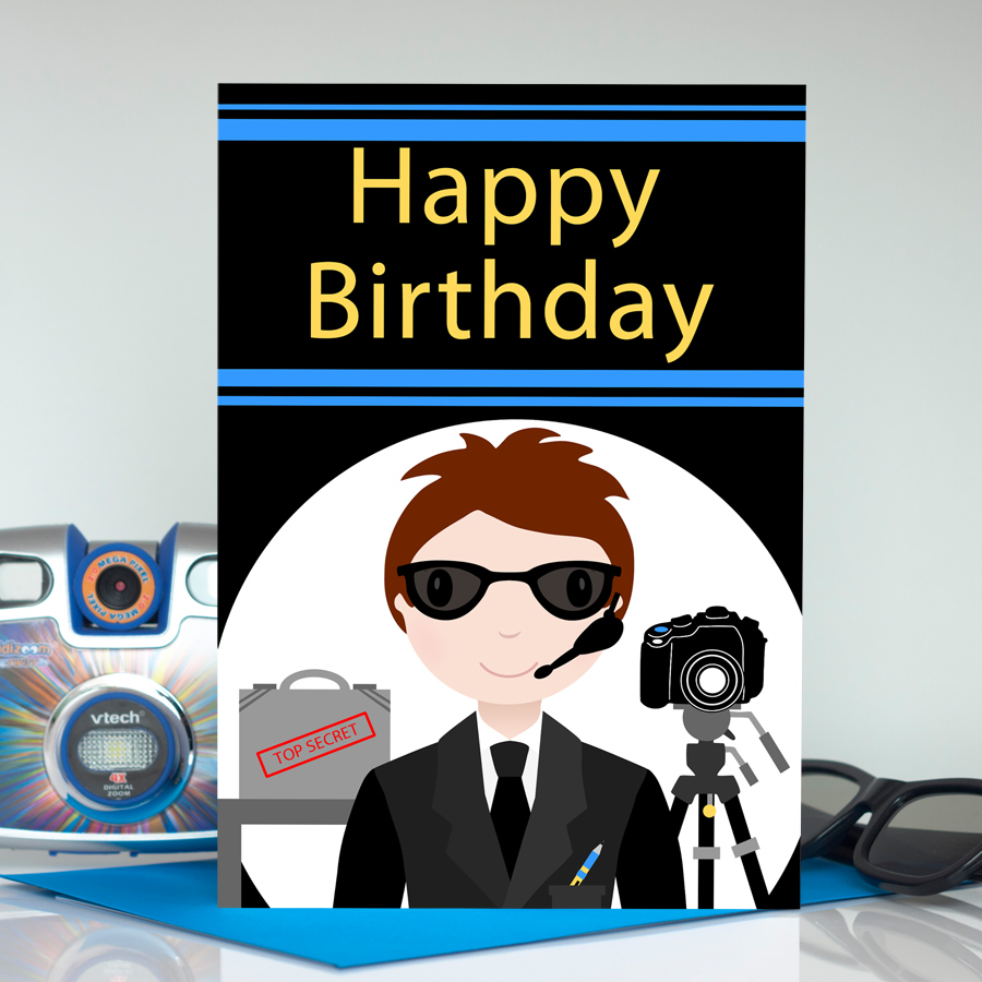 Secret Agent Boy Large Birthday Card