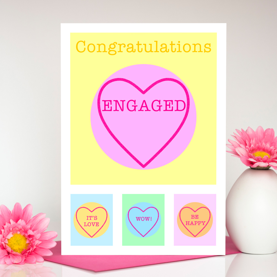 sweet heart large engagement card - Engagement Cards
