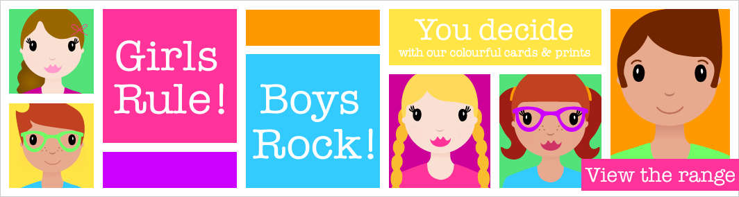 Girls Rule Boys Rock, a range of colourful cards, prints and gifts