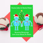 Robot personalised christmas card for a gay couple