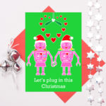 Christmas robots two girls in love christmas card