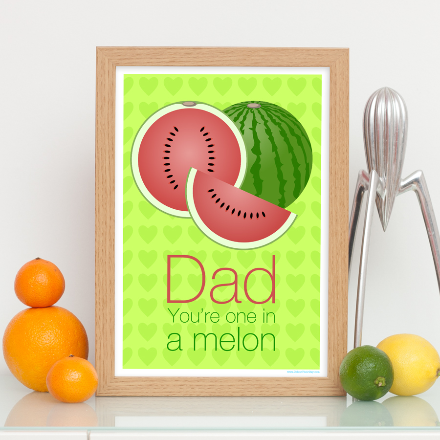 One in a melon watermelon dad print