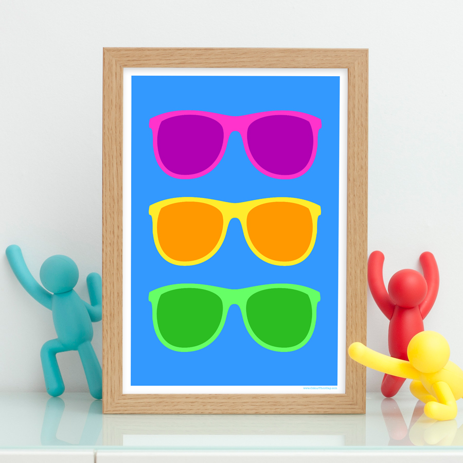 Cool and funky colourful sunglasses art print