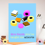 Teacher Liquorice Allsorts Pink Personalised Card
