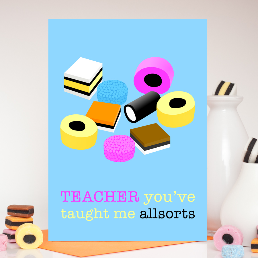 Teacher Liquorice Allsorts Pink Card