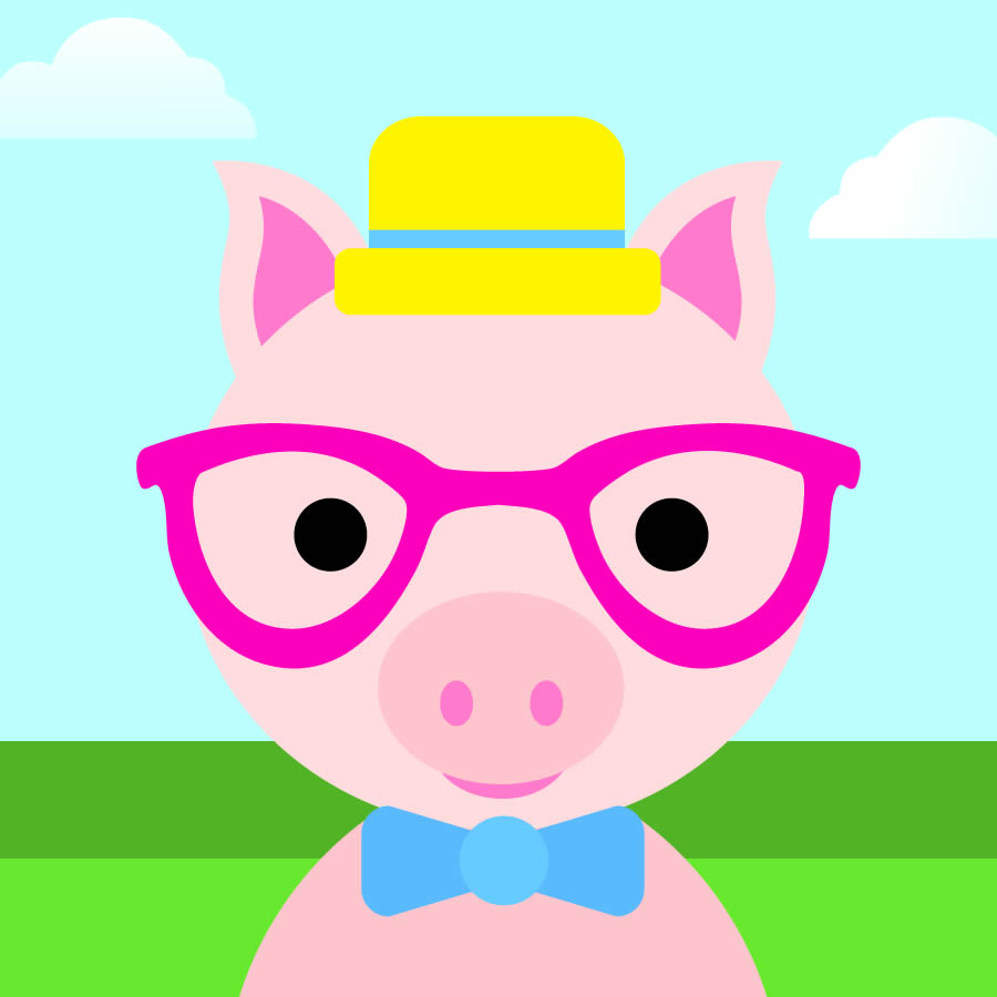 Cute Boy Pig In Hat And Glasses