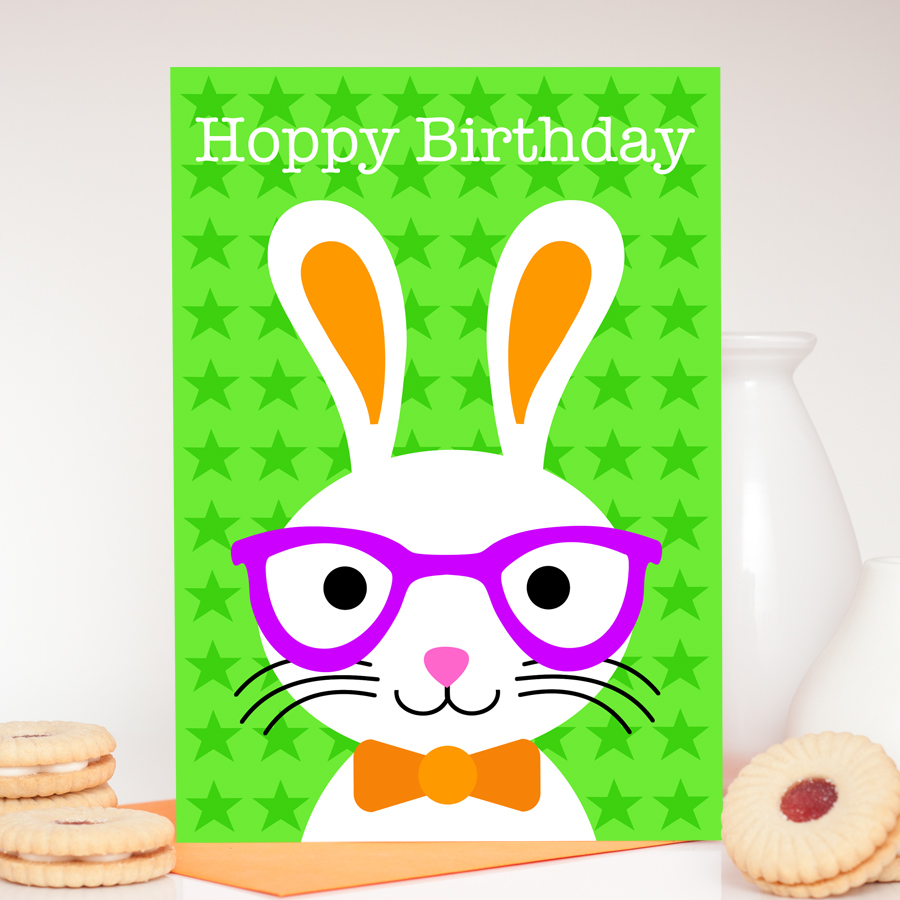 Boy Bunny Birthday Card