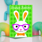 Boy Easter Bunny Green Card