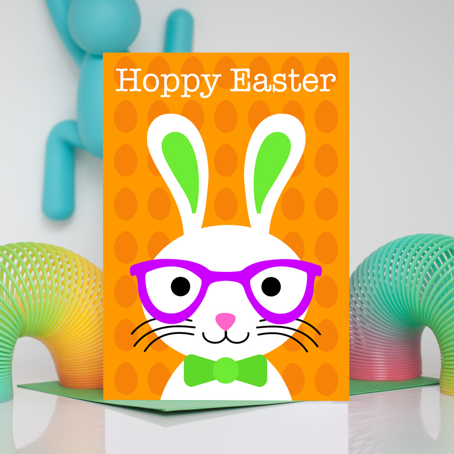 Boy Easter Bunny Orange Card