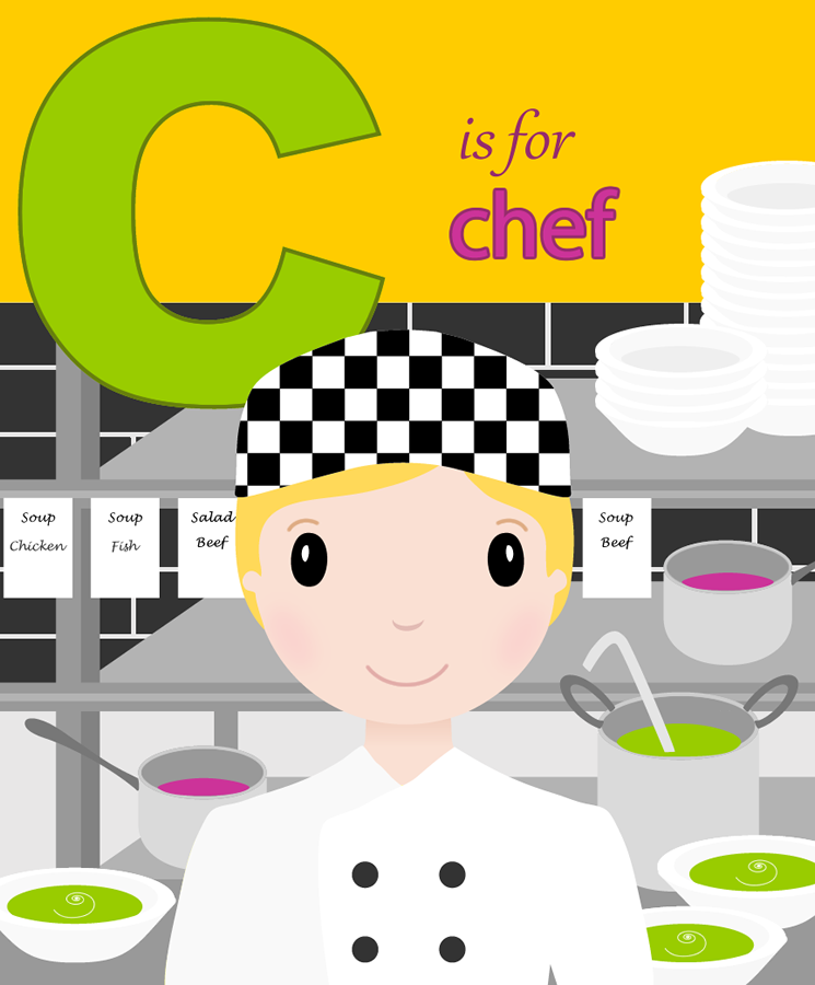 C Is For Chef ABC Print A-Z Alphabet Print For Kids