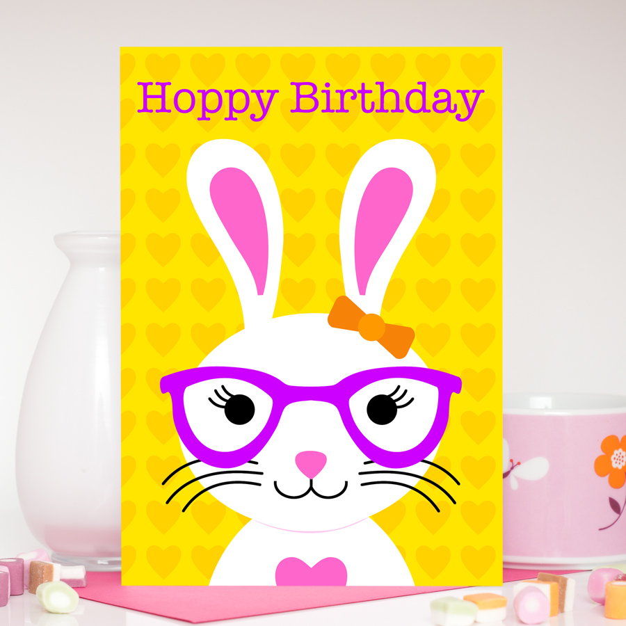 Girl Bunny Birthday Card