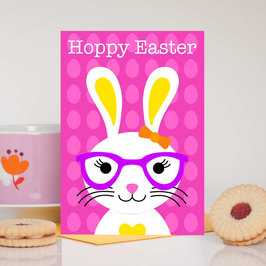 Girl Easter Bunny Pink Card