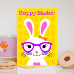 Girl Easter Bunny Yellow Card