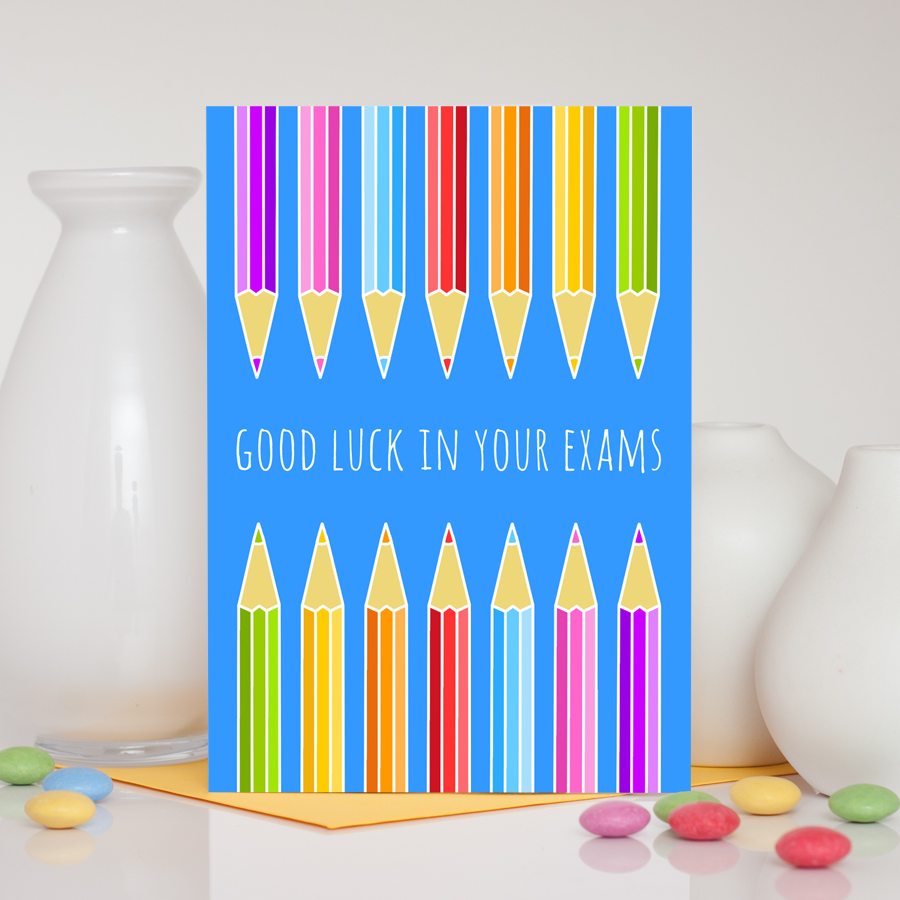 Pencils Exam Good Luck Card