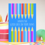 Pencils Exam Good Luck Personalised Card