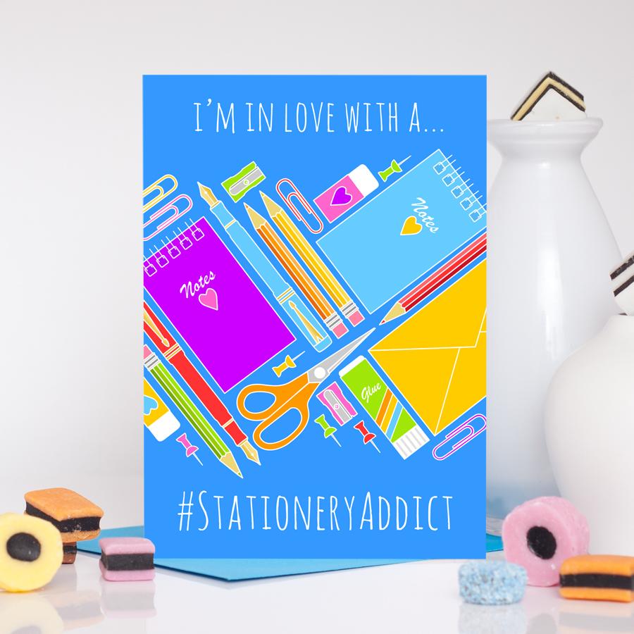In Love With A Stationery Addict Romantic Card