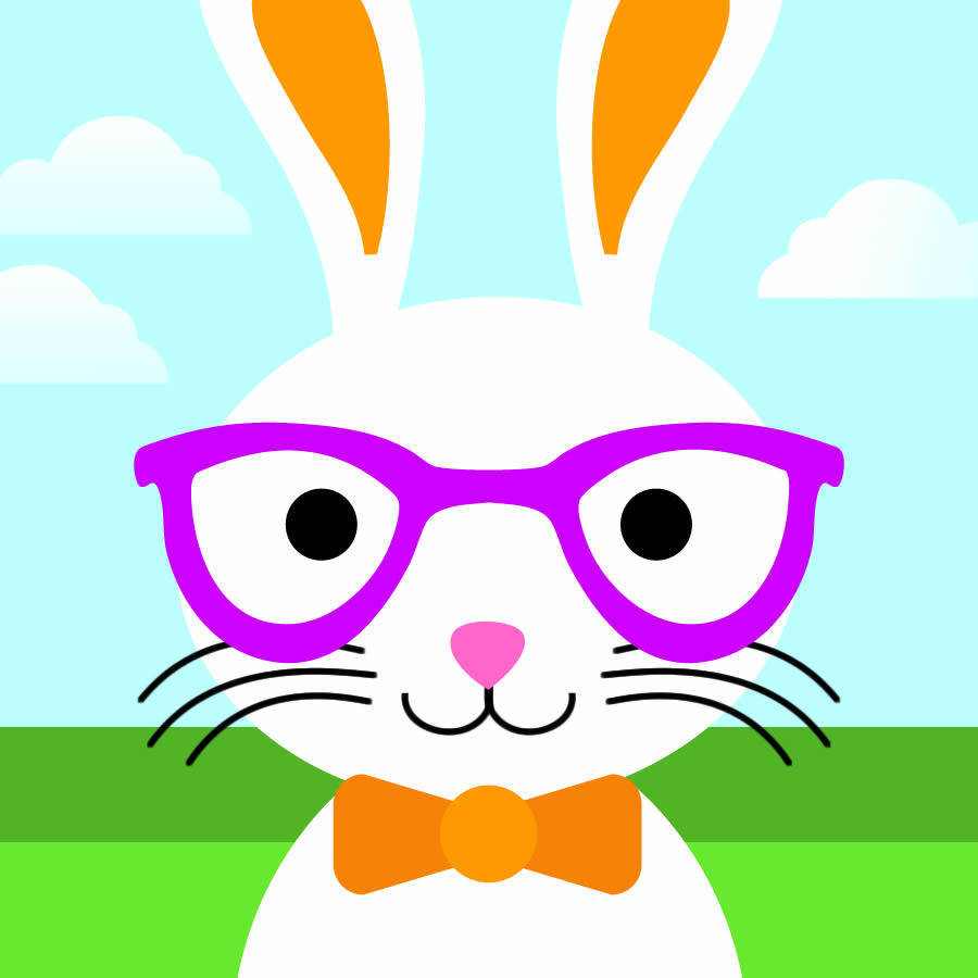 Cute Boy Bunny With Glasses And Bow Tie