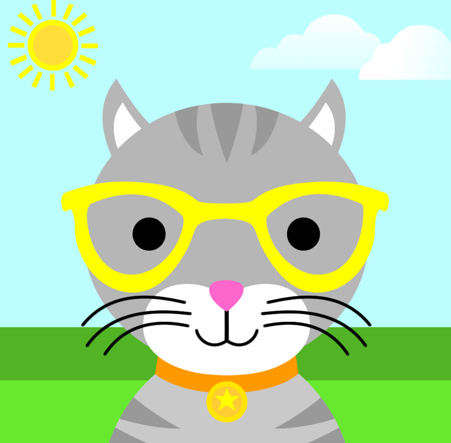 Cute Boy Cat With Glasses And Star Tag