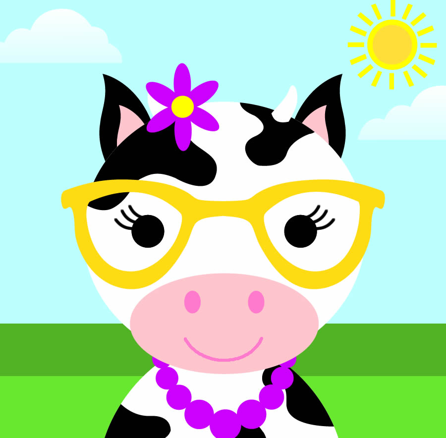 Cute Girl Cow With Glasses And Bow In Hair