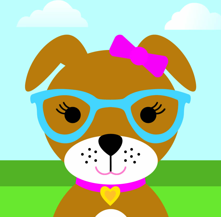 Cute Girl Dog With Hair Bow And Glasses