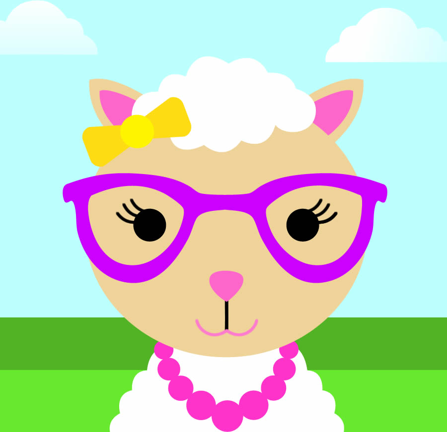 Cute Girl Sheep With Necklace And Glasses