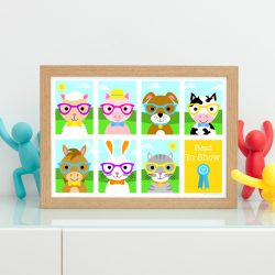 Cute farm animals and pets print for kids