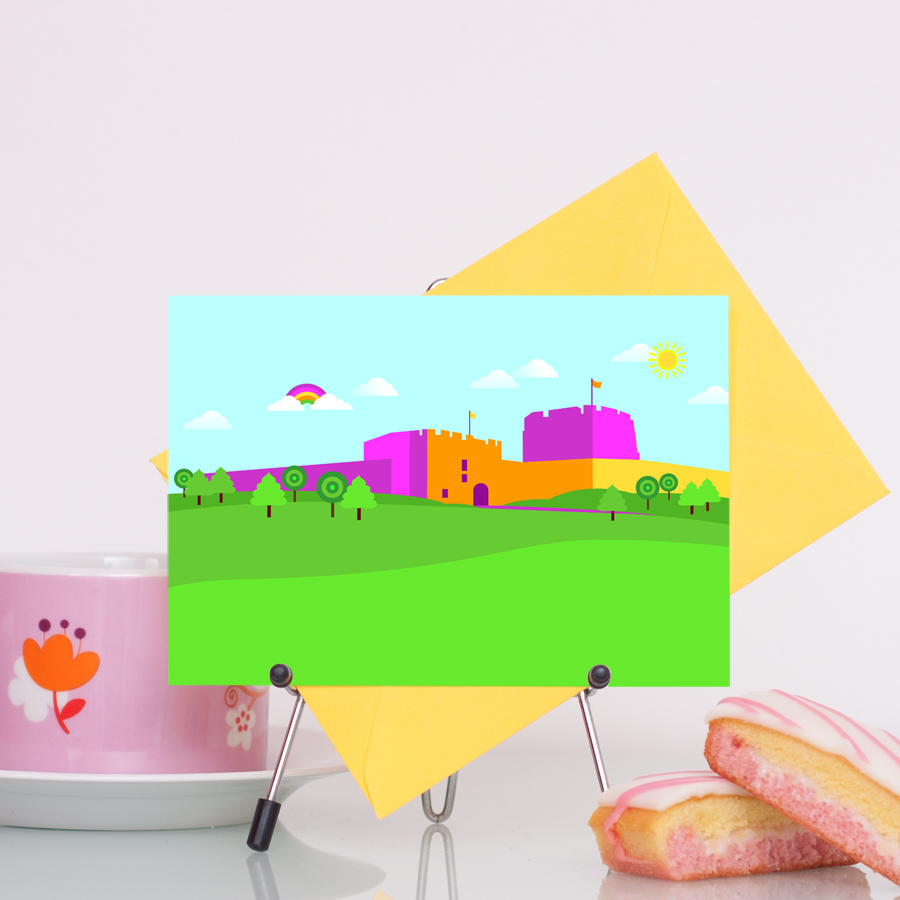 Carlisle Castle in Cumbria colourful illustration greetings card