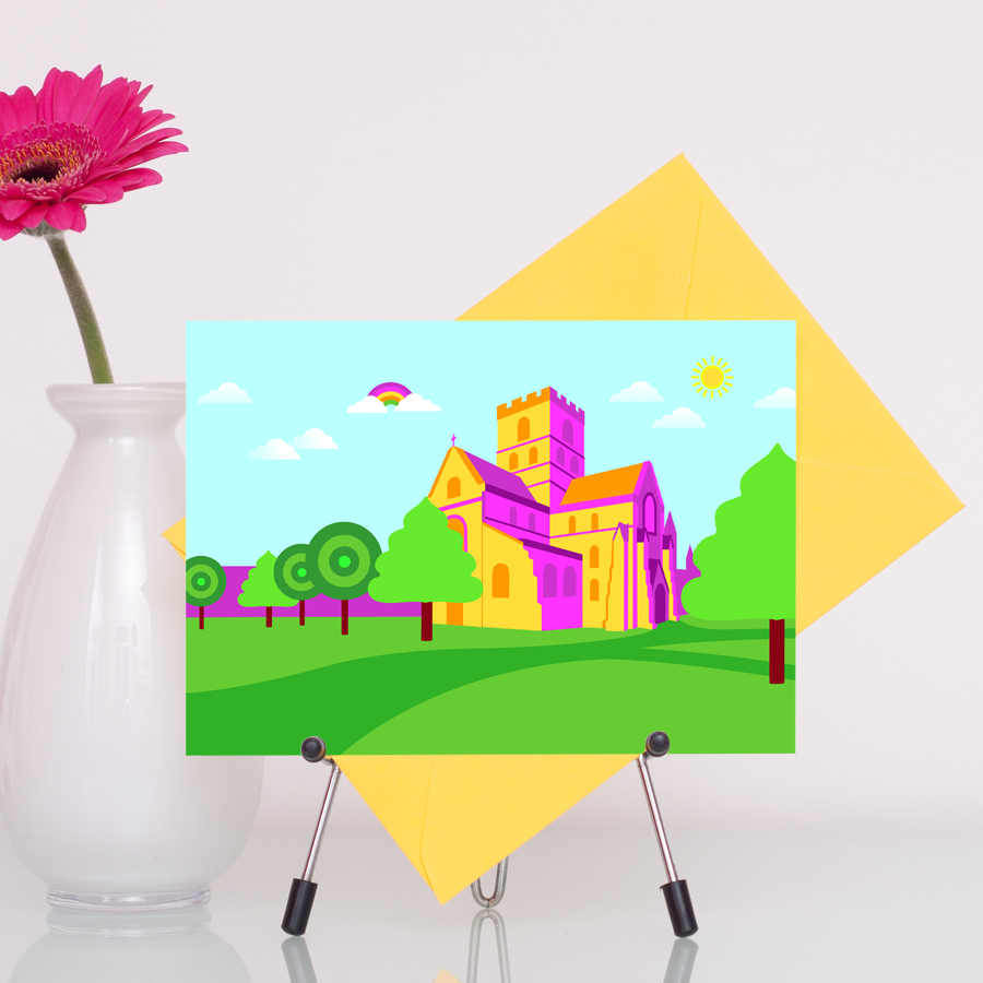 Carlisle Cathedral in Cumbria colourful illustration greetings card