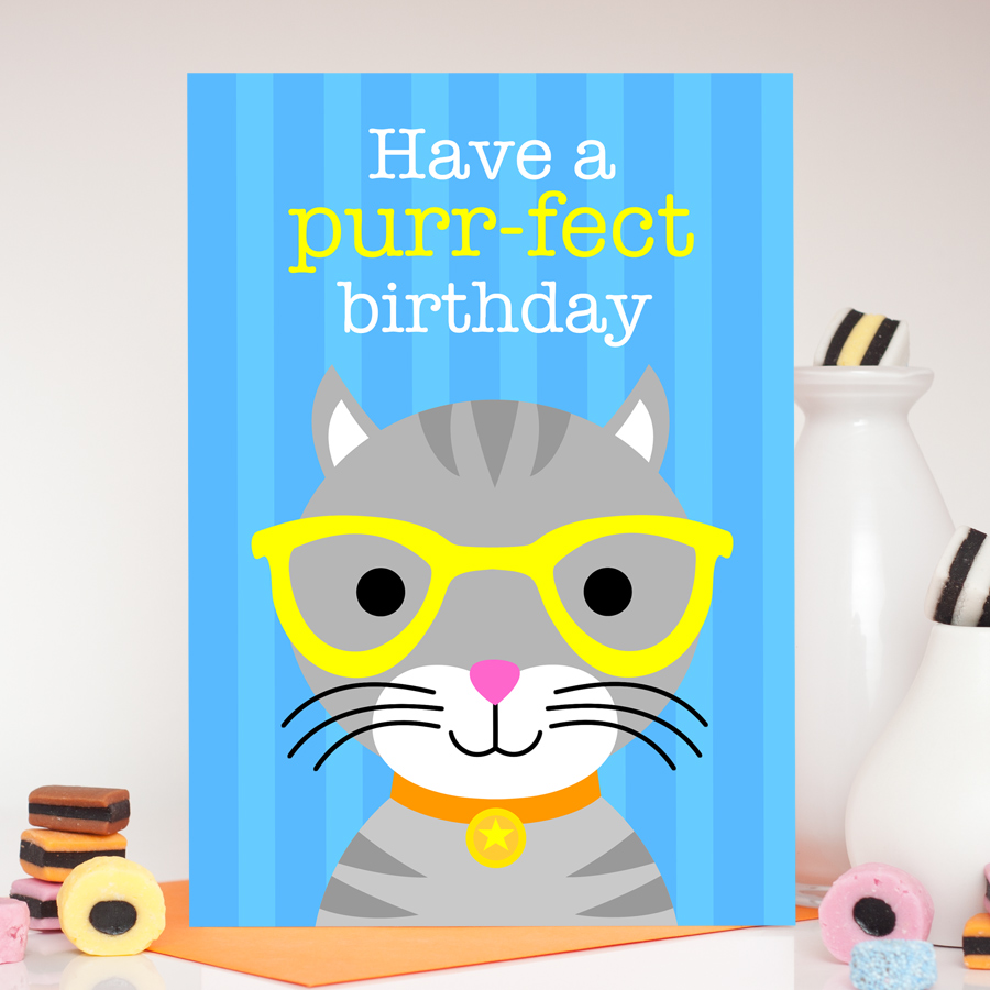 Boys cute cat birthday card