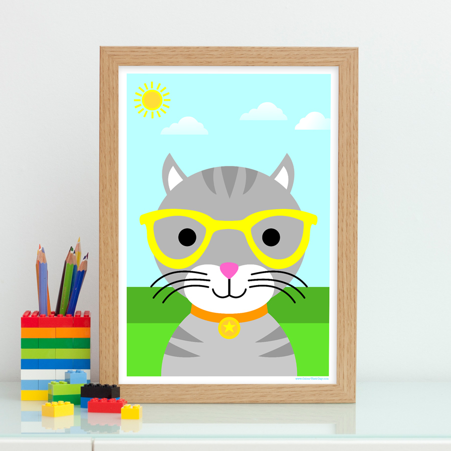 Boy cat wall art print for kids bedroom or nursery