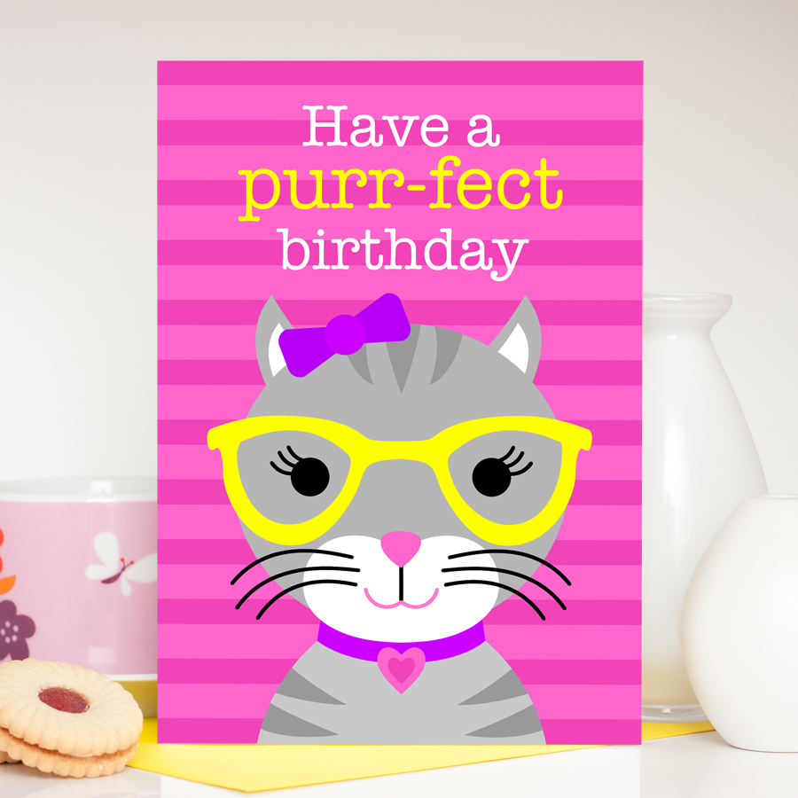 Girls cute cat birthday card
