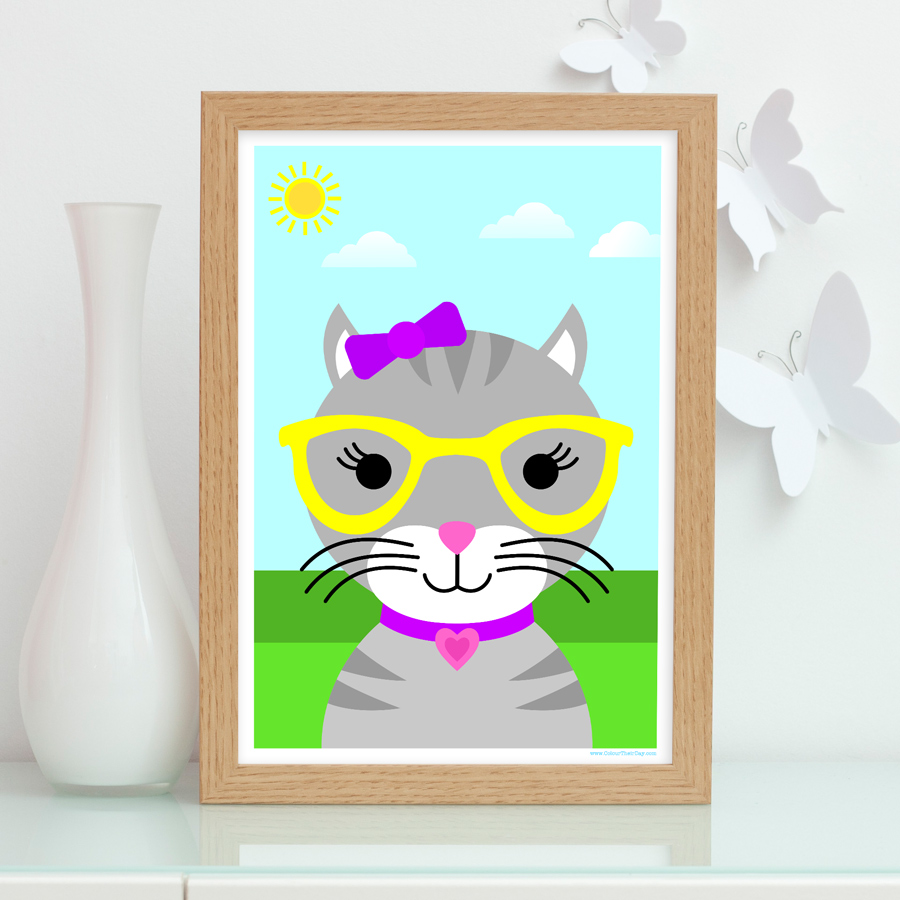 Girl cute cat wearing glasses art print for kids