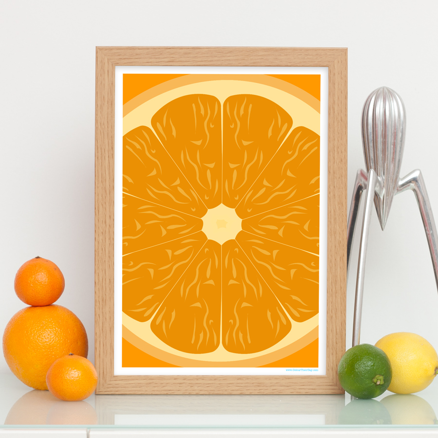Orange fruit art print detailed close up