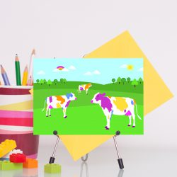 Colourful cows handmade greetings any occasion card