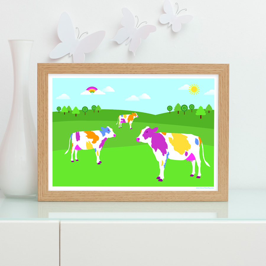 Colourful and vibrant cows in field art print
