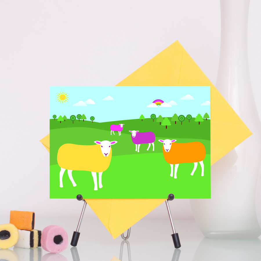 Colourful sheep handmade greetings card