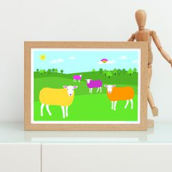 Brightly coloured sheep in field art print