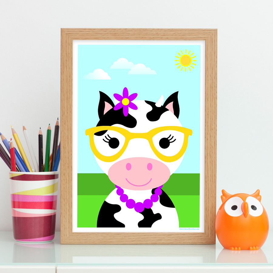 Girl cute cow art print for kids