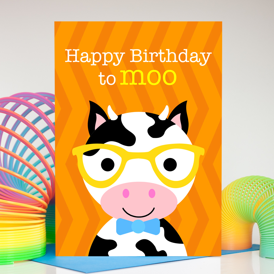 Boys cow birthday card