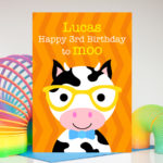 Cow personalised birthday card