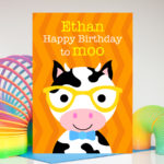 Cow personalised birthday card for kids