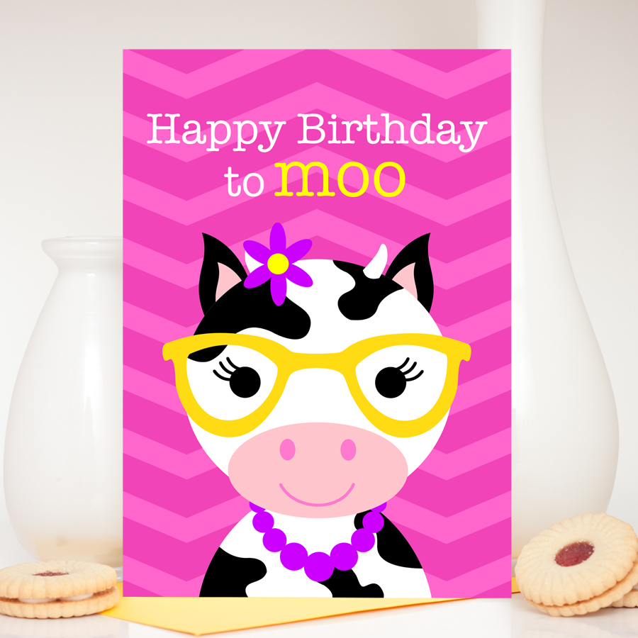 Girl cow birthday card claudia the cow colour their day kids cute cow birthday card bookmarktalkfo Images