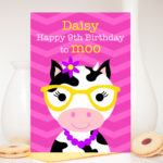 Girls cow personalised handmade birthday card