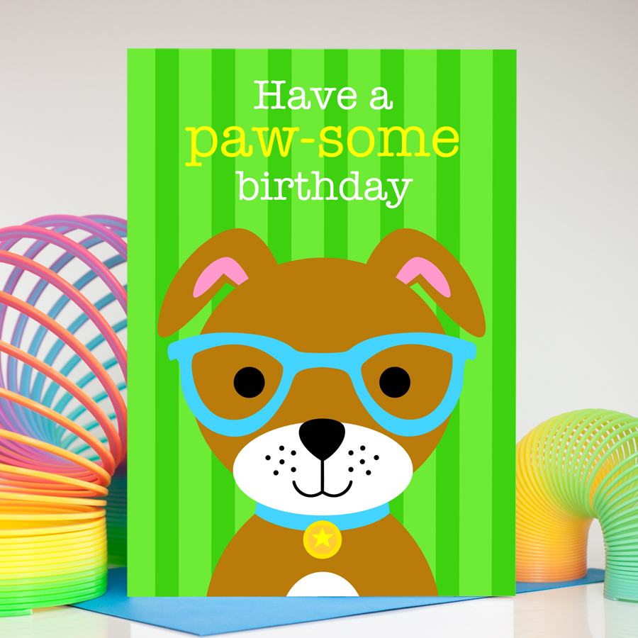 Boys colourful and fun dog birthday card
