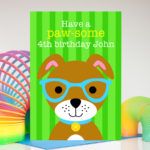 Puppy dog personalised birthday card for kids