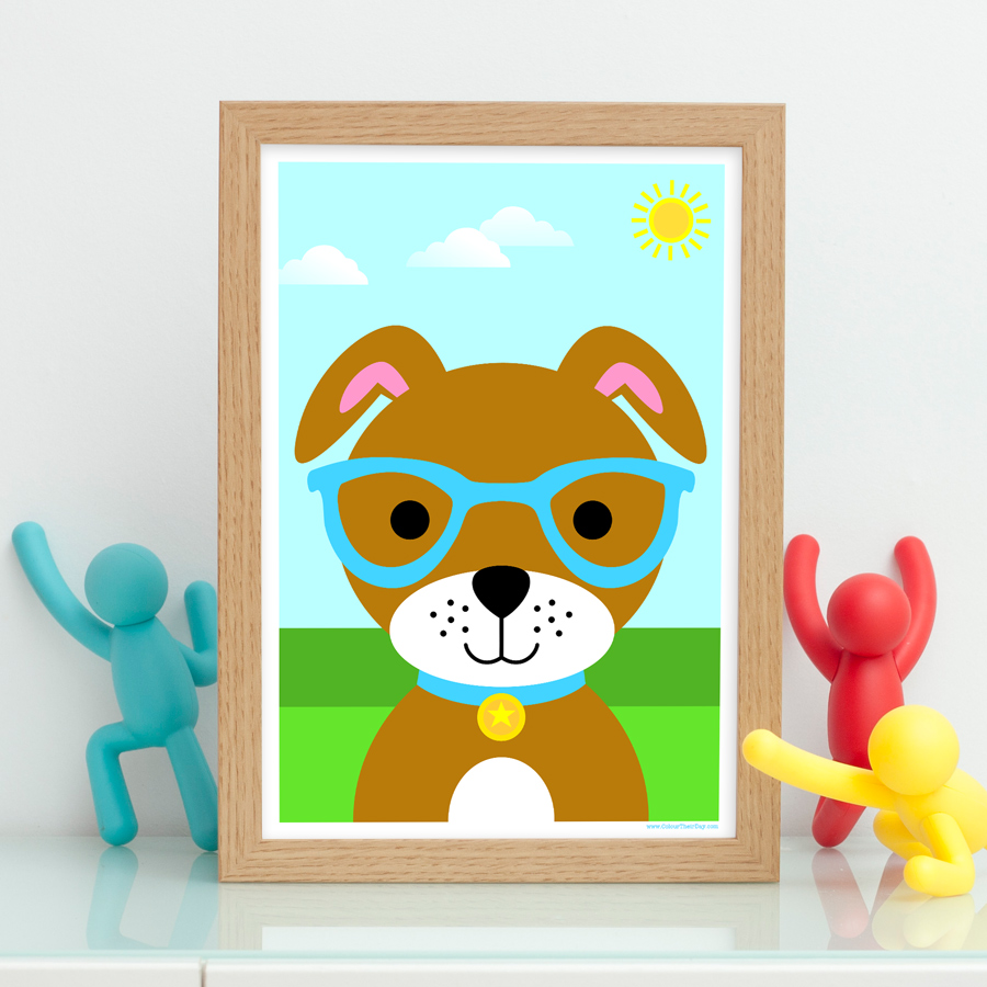 Cute boy dog art print for children