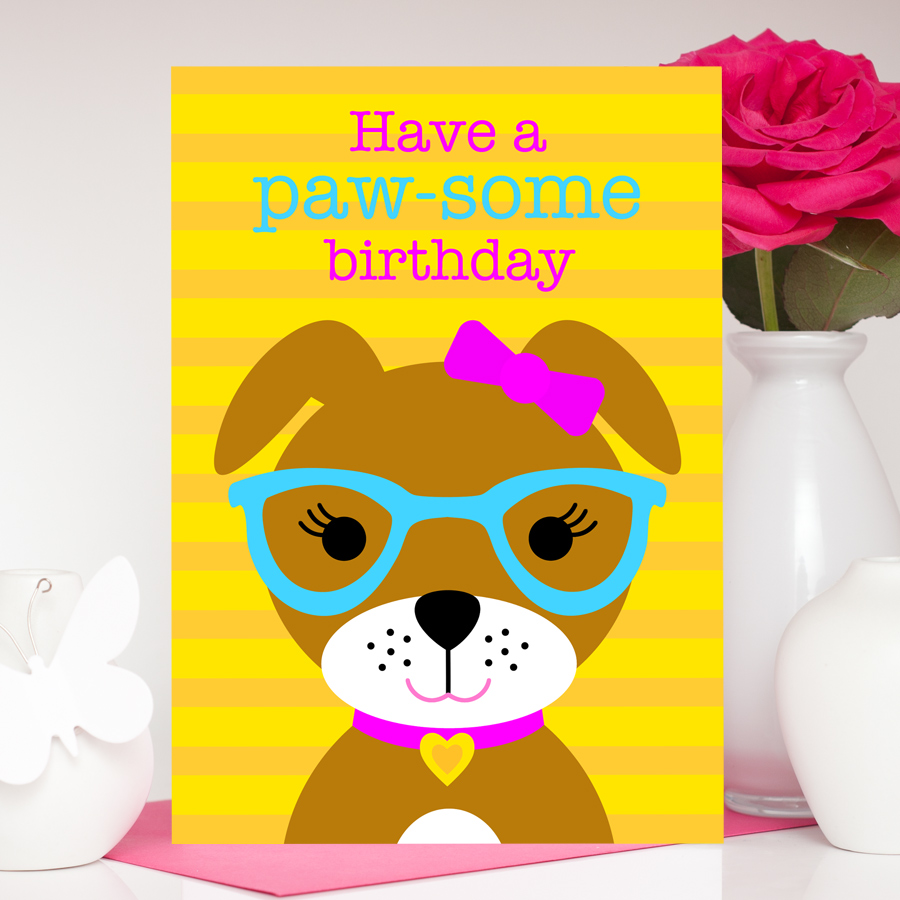 Cute dog birthday card for girls