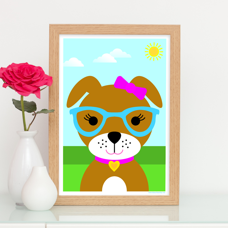 Girl dog cute art print for nursery