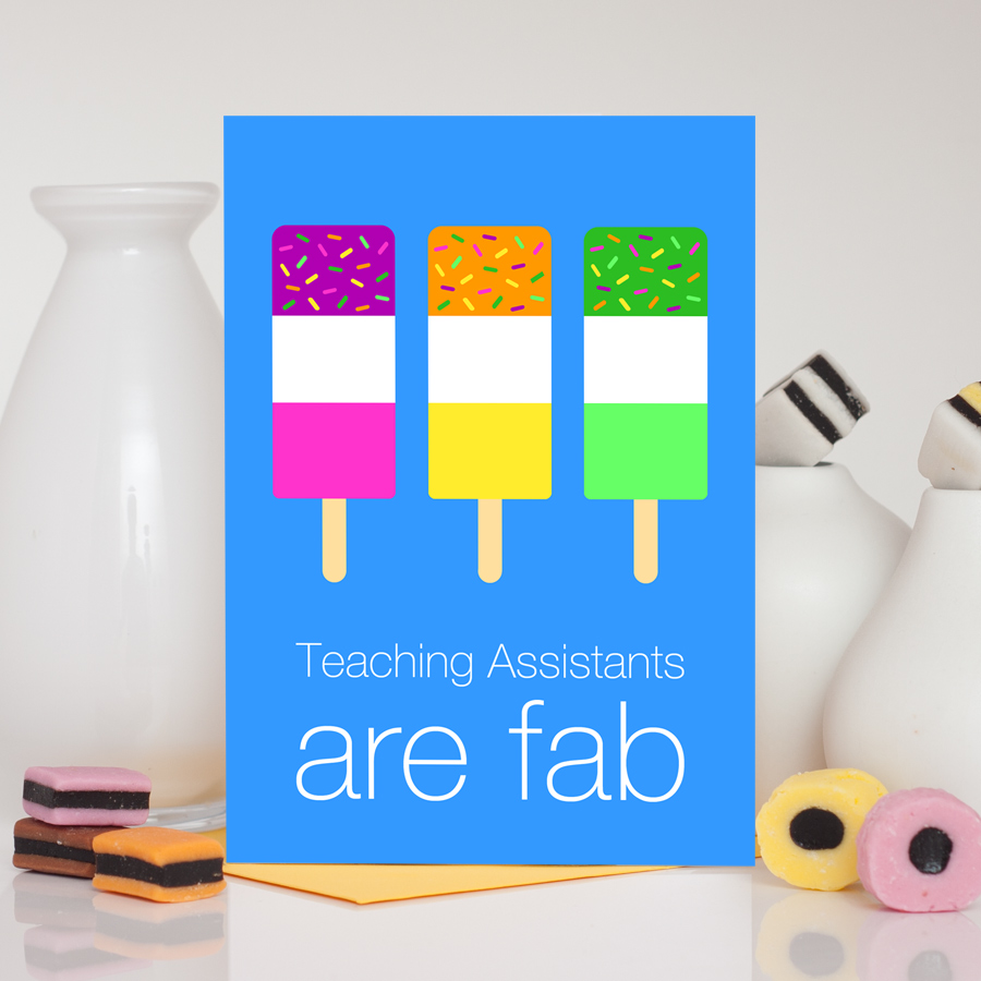 Fab ice lollies teaching assistant thank you card